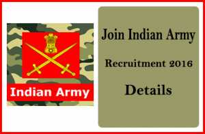 Join indian army Recruitment 2016-Online at joinindianarmy.nic.in