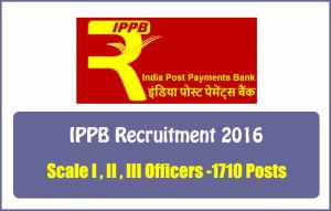 Indian Post Payment Bank – IPPB Recruitment of 1710 Vacancy 2016