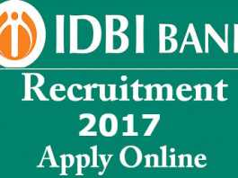 IDBI Bank Recruitment 2017