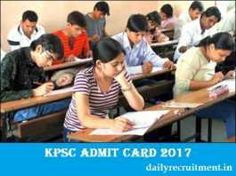 KPSC Admit Card 2017