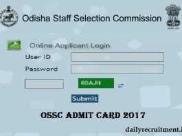 OSSC Admit Card 2017