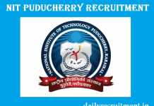 NIT Puducherry Recruitment 2017
