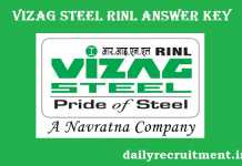VIZAG Steel Plant RINL Answer Key 2017