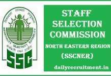 SSCNER Recruitment 2017