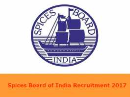 Spices Board of India Recruitment 2017