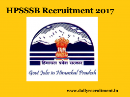 hpsssb Recruitment 2017