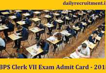 IBPS Clerk VII Exam Admit Card 2018