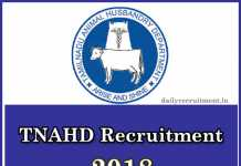 TNAHD Recruitment 2018