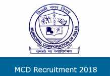MCD Recruitment 2018
