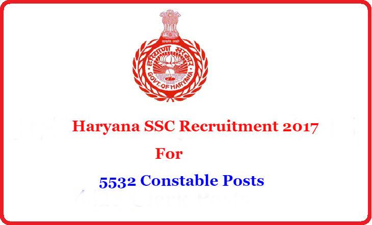 Haryana SSC Recruitment 2017