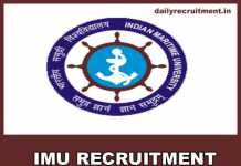 IMU Recruitment 2019