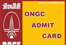 ONGC Admit Card 2019
