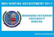 Maharshi Dayanand University Recruitment 2017