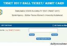 TNSET 2017 Hall Ticket