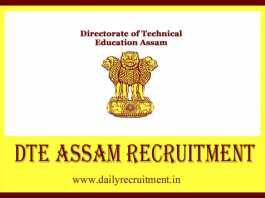DTE Assam Recruitment 2019