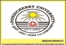 Pondicherry University Recruitment 2019
