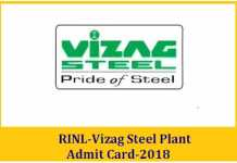 Vizag Steel Plant Admit Card 2018