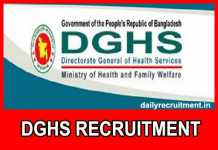 DGHS Recruitment 2018