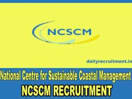 NCSCM Chennai Recruitment 2018