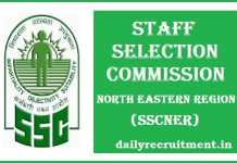 SSCNER Recruitment 2017