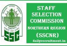 SSCNR Recruitment 2017