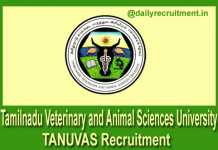 TANUVAS Recruitment 2018