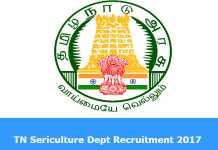 TN Sericulture Dept Recruitment 2017