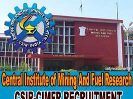 CIMFR Recruitment 2019