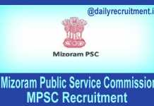 Mizoram PSC Recruitment 2019