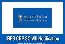IBPS CRP SO VIII Notification 2018