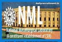 CSIR NML Recruitment 2019