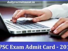 UPSC Exam Admit Card 2019