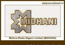 MIDHANI Recruitment 2019