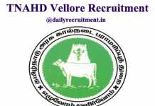 TNAHD Vellore Recruitment 2020