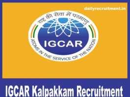 IGCAR Kalpakkam Recruitment 2018