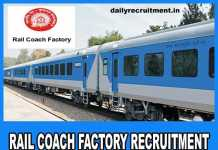Rail Coach Factory Recruitment 2020