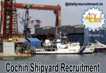 Cochin Shipyard Recruitment 2018