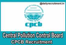 CPCB Recruitment 2018
