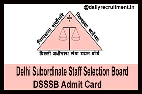 DSSSB Fire Operator Admit Card 2019