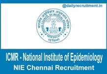 NIE Chennai Recruitment 2018