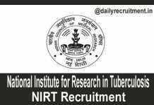 NIRT Recruitment 2018