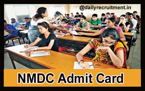 NMDC Admit card 2018