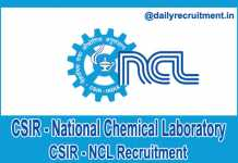 CSIR NCL Recruitment 2018