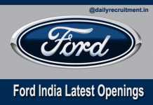 Ford India Recruitment 2018