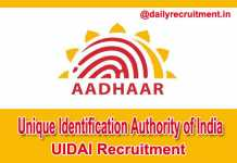 Uidai Recruitment 2018