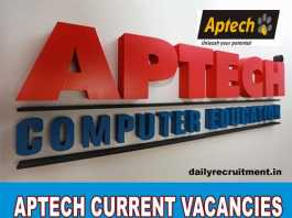 Aptech Current Vacancies 2018