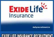 Exide Life Insurance Recruitment 2019
