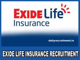Exide Life Insurance Recruitment 2018