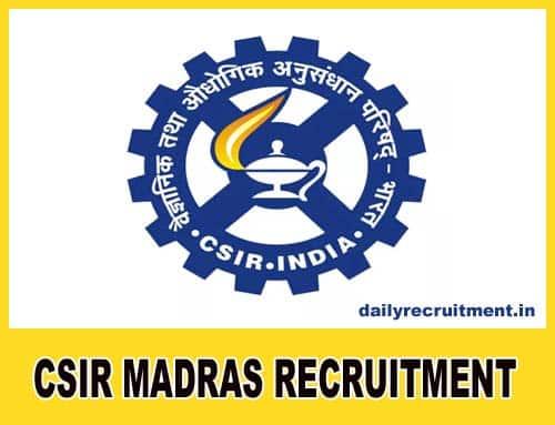CSIR SERC Chennai Recruitment 2021