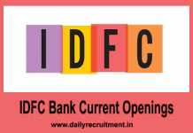 IDFC Bank Current Openings 2020